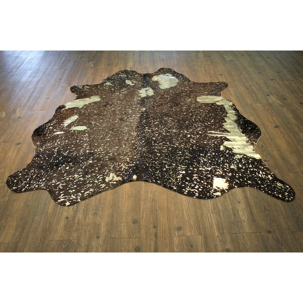Joyce Premium 100% Hair on Hide Leather Hand-Woven Gold/Brown Area Rug by Union Rustic